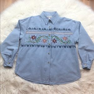 Victoria Jones Floral Embroidered Shirts